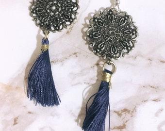 Antique Silver Tassel Earrings