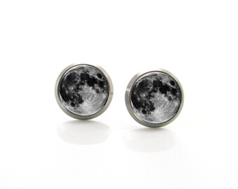 Titanium Stud Earrings Full moon stud earrings, Tiny stud earrings, Space jewelry, Moon earrings for sensitive ears, Mens earrings