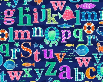 Studio E - Alpha Fish - Alphabet all over with Sea Creatures - Blue Background - 4014-77 -  Sold by the Yard
