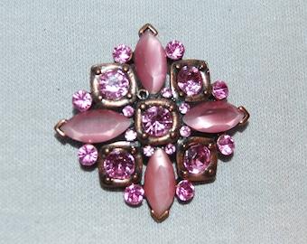 Rhinestone Brooch, Pink, Vintage old jewelry