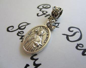 St Teresa of Avila Medal & Clear Glass Charm Pendant, Patron Saint for Headaches, Catholic Religious Gift