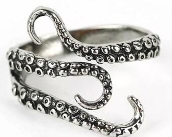 Mens Titanium Stainless Steel Octopus Ring