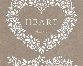 heart, pink heart, heart frame, white frame, clipart, frames, clipart, floral border, floral frame, white roses, roses