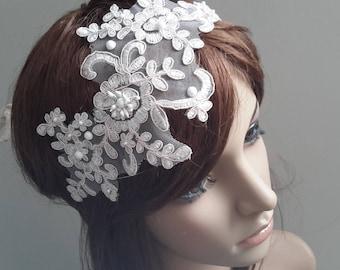 Re embroidered lace adjustable headband