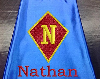 Superhero cape  Kid's  Cape Diamond Shield Custom Embroidered   Personalized With Name And Initial