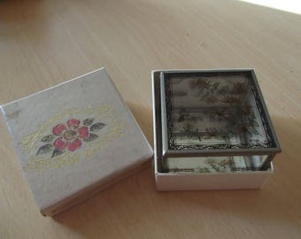Vintage 1980s glass trinket box - hand-painted and boxed