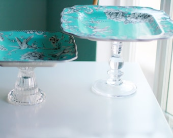 Turquoise Blue Cake Stand or Dessert Pedestal / Cake Pop Stand / Truffle Tray Petit Four Platter