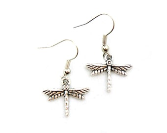 Tiny Dragonfly Earrings - Antiqued Silver Vintage Style Dragonfly Dangle Earrings - Gifts Ideas - CP131
