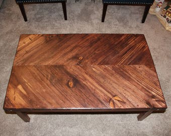 Herringbone Chevron Wood Coffee Table