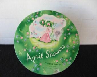 Vintage April Showers Cheramy  Vanity Powder Tin