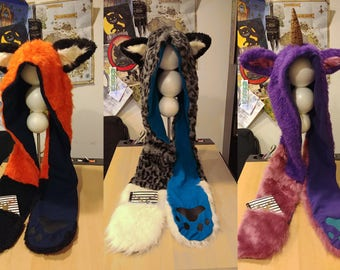 """Customized """"Animal-Ear Hat"""" Hooded Scarf: Design Your Own Wearable Creature!"""