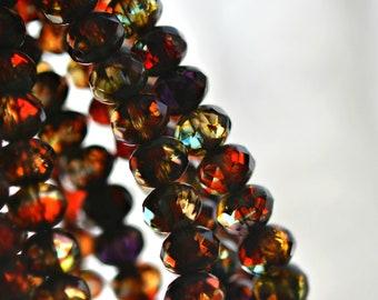 Glasmalerei - Premium-tschechische Glasperlen, transluzent rot, gelb, Picasso-Finish, Rondellen 7x5mm - Pc 15