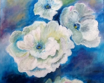 White roses, flowers d, acrylic painting, art, france, blue, blue