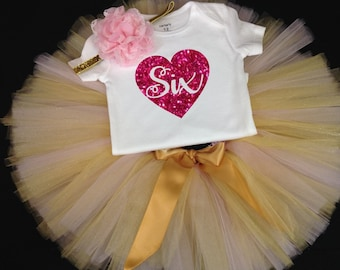 Pink Gold Sixth Birthday Outfit, Girls Birthday Tutu, Sixth Birthday Outfit, Birthday Tutu, 6th Birthday Tutu Set, 6th Birthday  Tutu Outfit