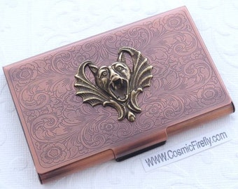 Gargoyle Vampire Bat Card Case Copper Case Steampunk Case Business Card Holder Gothic Victorian Style Card Case Handcrafted Metal Card Case