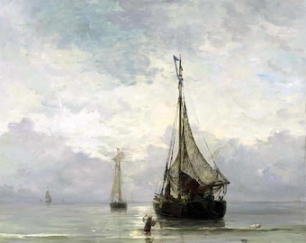 A Calm Sea Painting by Hendrik Willem Mesdag Art Reproduction
