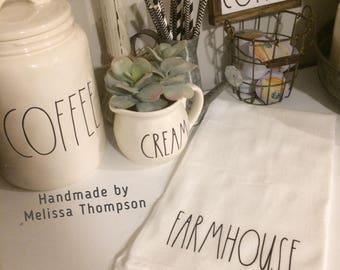 Rae Dunn inspired FARMHOUSE tea towel