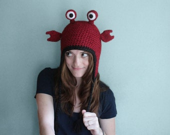 Hermit Crab Hat, Handcrafted Crochet Animal Hat with Earflaps