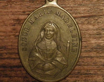 "Antique French religious bronze medal pendant ""Sister Marie Madeleine"""