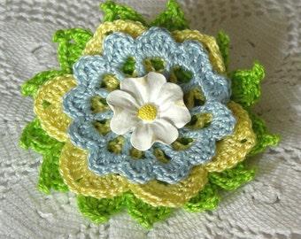 Spring Garden Flower Brooch, Crochet Thread Pin, FB161-01