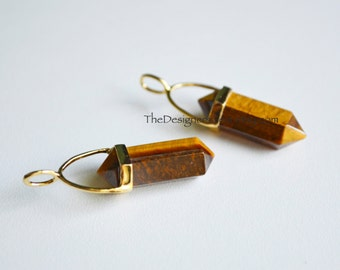 Natural Tiger Eye Point Bead Pendant with Gold Vermeil Bail