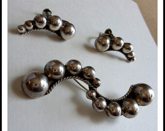 Pin and Earring Set Vintage Sterling