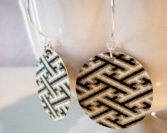 Geometric Tribal Origami, Black and Gold Small Earrings