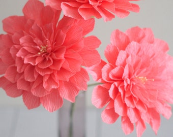 3 Paper Dahlia for wedding bouquet,table decoration in coral ,peach