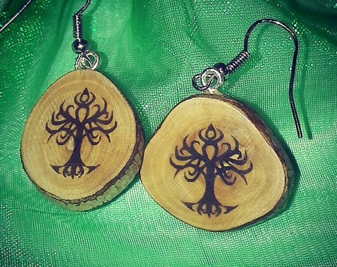Tree of life Yggdrasil Necklace / Earrings Wooden Charm Brown  Eco Friendly Handmade Personalised Charms Wood Hand made Jewellery #Etsy