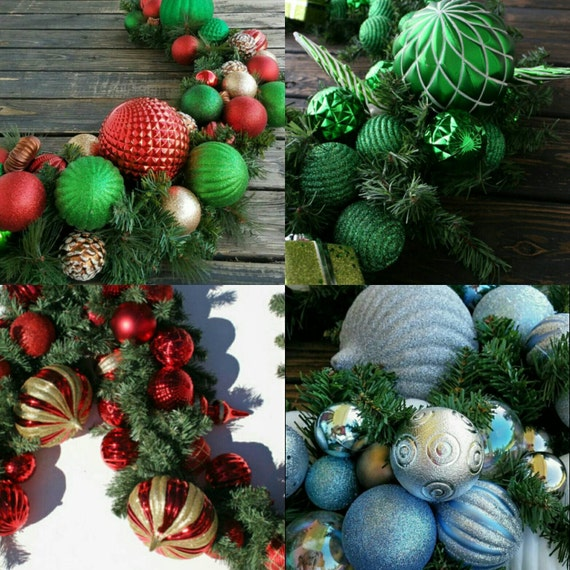 Christmas Garland, Holiday Garland, Mantel Garland, Fireplace Garland, Custom 9 Foot Pine Garland With Ornaments