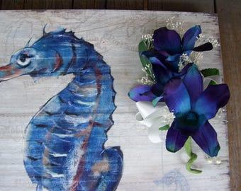 Laney's Corsage Babies Breath Blue Violet Orchids Wedding Corsage