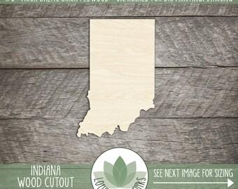 Indiana Wood Shape, Unfinished Wood Indiana Laser Cut Shape, DIY Craft Supply, Many Size Options, Blank Wood Shapes
