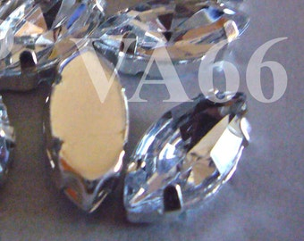 Navette Marquis Sew On Rhinestones Crystal 20p 7mm x 15mm 4 hole Silver Montee Faceted Acrylic Glass Rhinestone Beads sewing  jewelry craft