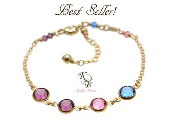 Mothers Birthstone Bracelet - Family Bracelet - Gold Birthstone Bracelet - Mothers Bracelet - Mom Christmas Gift - Mothers Day Gifts