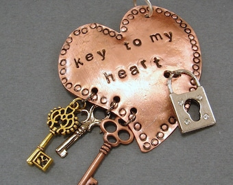 Hand Stamped Keys to my Heart Pendant Necklace