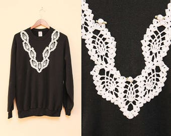 Lace Sweatshirt // Black Embroidered Sweater // 80s Knit Doile Overlay Appliqué Size Large XL