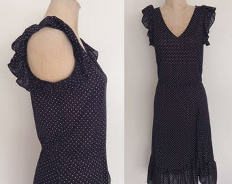 1970's Black Polka Dot Polyester Dress Size Medium Large by Maeberry Vintage