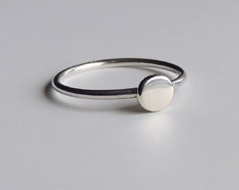 Sterling Silver Dot Ring Silver Stacking Ring Simple Ring