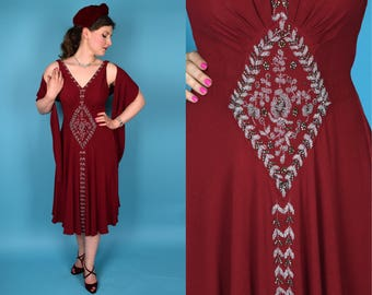 RESERVED ON LAYAWAY - Merlot || Vintage 30's Rare and Gorgeous Burgundy Beaded Rayon Crepe Sleeveless Formal Dress with Matching Embroidered
