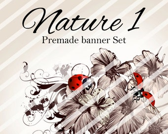 "Banner Set - Shop banner set - Premade Banner Set - Graphic Banners - Facebook Cover - Avatars - Bisiness Card - ""Nature 1"""