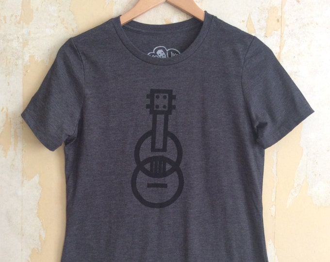 Featured listing image: Ukulele T-shirt - Modern Ukulele t-shirt - Women's t-shirt - Dark Gray T-shirt Tri-Blend Relaxed Fit and Responsibly