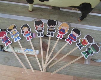 Cute Superhero Cupcake Toppers Set of 36 with Free Shipping