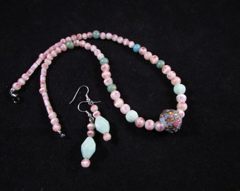 Vintage bead necklace and earring set, hand beaded necklace set, hand beaded jewelry set, vintage beads, pink jewelry