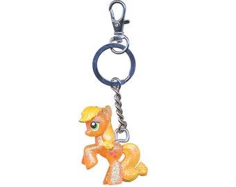 My keychain with little applejack pony plastic charm