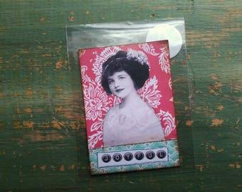 Sale! Original ACEO, Holiday ATC, Original Mini Art card, Original Art Card, Holiday Art, Christmas ACEO Vintage girl, vintage photo collage