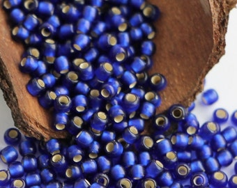 10g Toho Seeds Beads 11/0 Silver lined Frosted Cobalt Blue TR-11-28DF Rocailles size 11 Matte Denim Blue