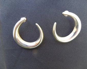 Vintage Earrings Crescent Shaped Sterling Silver for Pierced Ears Hallmarked .925