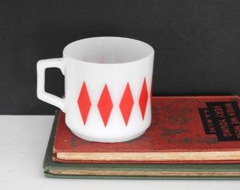 Fire King Red Diamonds Mug- Milk Glass