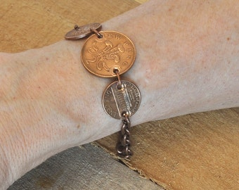 3 Coins Copper Bracelet, World Vintage coins, Canada Penny, UK New Two Penny, USA Penny, Retro Coin Bracelet