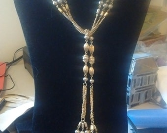 REDUCED  Sarah Coventry Golden Drop-thru Balls and Chains Necklace